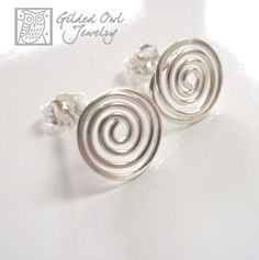 Handmade Sterling Silver Spiral, Small Coiled Earrings with Posts