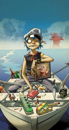 Gorillaz Boat Illust