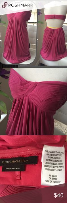 """Sexy BCBGMAXAZRIA cutout back dress Boned knife pleated bust fits like a bathing suit top-has silicone stay up band around top, front drapes from bust to a bubble hem while back is cut out-slinky & sexy. Material is super stretch version of swimsuit material. May be a few small pulls from jewelry but otherwise no damage. Bust measurement most important-band is 36.5"""" unstretched-I'm a 36D & while I fit, I'd probably need to add straps for support. 38 bands probably work best. No size tag…"""