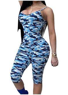 e43f05cc7b1 Cromoncent Women s Deep V Spaghetti Strap Camo Romper Crop Pants Jumpsuits