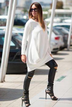 6fd2fab92882 White Cotton Tunic Long Sleeves