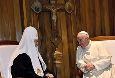 Pope Francis on Friday crossed the Atlantic Ocean and then a millennium of division and distrust when he traveled to Cuba and met with the patriarch of the Russian Orthodox Church.