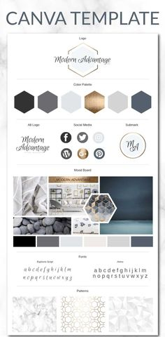 Fully Editable Brand Board Template for Canva. Use this modern gold collection to take your brand to the next level. The template is fully editable. #Canva #branding