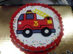 Buttercream firetruck cake for a 3rd birthday