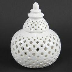 Covered Pierced Ceramic Jar