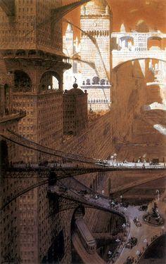 William Robinson Leign, Visionary City, 1908 via Retro Future: Glorious Urbanism? Sci Fi Fantasy, Fantasy World, Futuristic City, Science Fiction Art, Environment Design, Future City, Fantasy Landscape, Sci Fi Art, Architecture