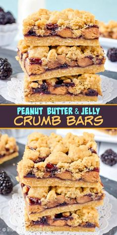 Peanut Butter & Jelly Crumb Bars Peanut Butter and Jelly Crumb Bars – these easy crumble cookie bars have peanut butter cups and blackberry jelly in the center. Make this easy recipe for picnics or after school snacks. Best Dessert Recipes, Easy Desserts, Delicious Desserts, Bar Recipes, Family Recipes, Kitchen Recipes, Brunch Recipes, Cooker Recipes, Paleo Recipes