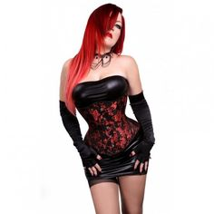 Gothic Red Design Corset now in our Hourglass Silhouette! The decorative fabric with swirling red and black motifs is reminiscent of traditional Asian brocades