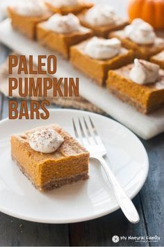 - Try our Paleo pumpkin bars recipe. It's also gluten-free, dairy-free. The crust is made with pecans and dates and the cream is from coconut milk.