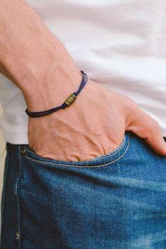 Blue cord bracelet for men men's bracelet bronze tube Braided Bracelets, Cord Bracelets, Bracelets For Men, Fashion Bracelets, Friendship Bracelets, Bracelet Men, Handmade Bracelets, Anklet Jewelry, Anklets