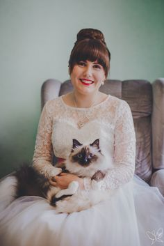 Last Saturday's beautiful bride with her cat Lulu.