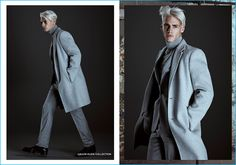 Oliver Stummvoll has a soft grey moment in tailoring from Calvin Klein Collection for Simons' fall-winter 2016 collections lookbook.
