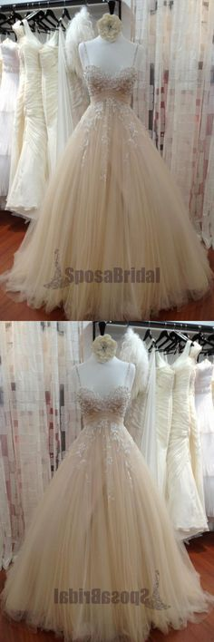 Spaghetti Straps Tulle with Lace Sparkly Beautiful Most Popular A-line Prom Dresses, PD0617