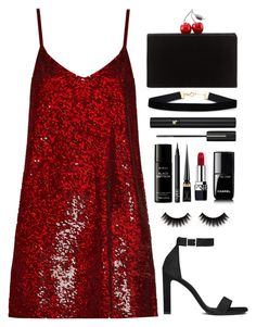"""""""The Red Dress"""" by melaniemeran ❤ liked on Polyvore featuring Ashish, Edie Parker, Yves Saint Laurent, Lancôme, Chanel, Christian Dior, Liberty, NARS Cosmetics and Christian Louboutin"""