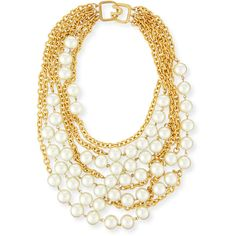 Kenneth Jay Lane Multistrand Simulated-Pearl Necklace ($200) ❤ liked on Polyvore featuring jewelry, necklaces, pearl, multi row necklace, multi-chain necklace, kenneth jay lane necklace, fake pearl necklace and simulated pearl necklace