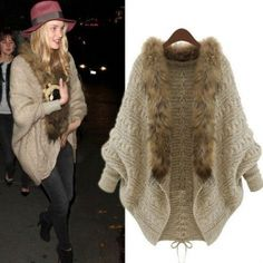 Wholesale Beige Womens Fur Collar Batwing Sleeve Drawstring Knit Cable Cardigan Sweater B9777