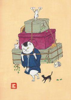 ねこまたたび さて、次はどこへ行こうかな。#illustration #イラスト #絵 #和風 #猫 #動物