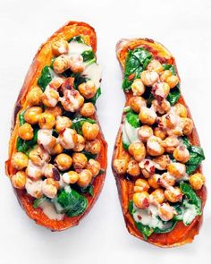 The chickpeas & sweet potatoes roast side-by-side. It's the ultimate timesaving multi-tasking for these chickpea spinach stuffed sweet potatoes with tahini. Chickpea Recipes, Veggie Recipes, Whole Food Recipes, Vegetarian Recipes, Cooking Recipes, Healthy Recipes, Healthy Meals, Chickpea Meals, Vegetarian Cooking