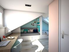 Turn Your Attic into a Bedroom - Attic Basement Ideas Bedroom Loft, Kids Bedroom, Bedroom Decor, Attic Bed, Dreams Beds, New Room, Small Apartments, Room Colors, Girl Room