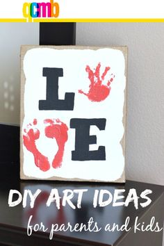 Valentine LOVE craft canvas art - quick and simple art for Valentine's Day and every day.
