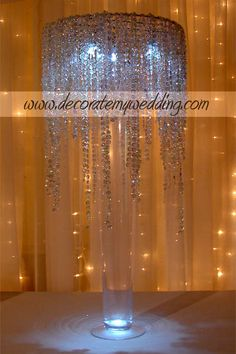 Crystal rain waterfall, great look on escort card tables, guest book table, etc. Bling Wedding, Tree Wedding, Crystal Wedding, Wedding Events, Rhinestone Wedding, Christmas Wedding, Wedding Stuff, Wedding Table Centres, Wedding Reception Decorations