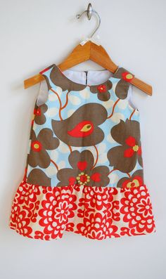 Ruffled Amy Butler dress for babies toddlers by TheNaptimeProject