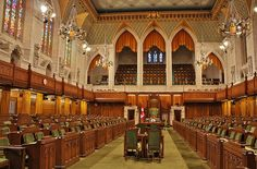 House of Commons Chamber in the Centre Block of Canada's Parliament Buildings