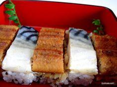 oshizushi, sushi with unagi and mackerel