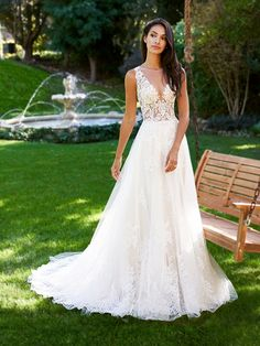 Moonlight Collection J6578A ultra-sexy A-line wedding gown with sheer unlined bodice and flowy lace skirt