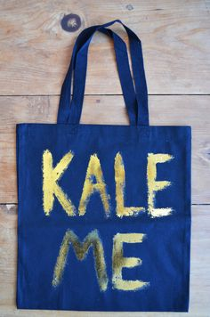 Kale Me Tote Bag in Black and Gold