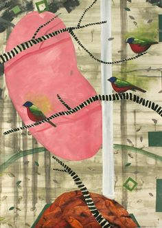 "Saatchi Online Artist: Amy Newland; Oil, 2012, Painting ""Painted Buntings"" #art"