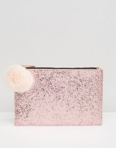 Shop | Skinnydip Rose Gold Glitter Clutch Bag With Faux Fur Pom