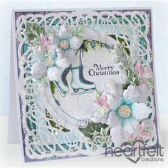 Heartfelt Creations - White Poinsettias With Skates Project