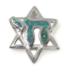 Unisex Star of David Necklace, Silver & Opal