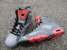 Air Jordan 6 'PIGEON' Custom Sneakers Ⓙ_⍣∙₩ѧŁҝ! I have Air Jordan's but there all grey and white Sock Shoes, Cute Shoes, Me Too Shoes, Nike Outfits, Custom Sneakers, Shoes Sneakers, Baskets, Site Nike, Air Jordan Shoes