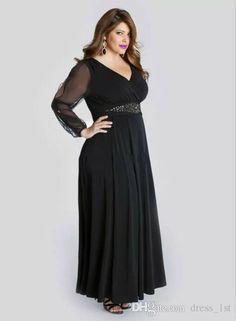 e1cb36fdad56d Black Chiffon Plus Size Prom Dresses Long With Illusion Sleeves 2017 Cheap  V Neck Beaded Sash