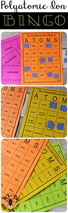 Polyatomic Ion Bingo!  I made this game so my students can have fun learning their polyatomic ions!
