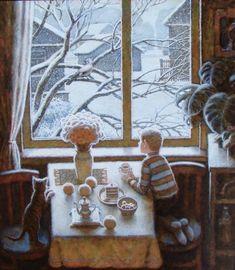 Игорь Пугач (1963) картины — Яндекс: нашлось 3млнрезультатов Art And Illustration, Illustrations And Posters, Window View, Christmas Mood, Christmas Paintings, Winter Art, Pretty Pictures, Cat Art, Folk Art