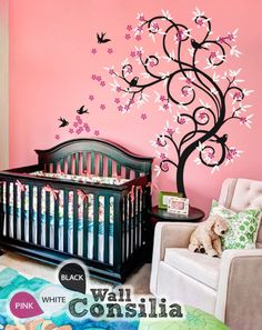 "Baby Nursery Wall Decals - Blossom Tree Decal - Tree Wall Decal - Tree Wall Decals - Tree Wall Decal with Birds - Large: 85"" x 54"" - KC030 by WallConsilia on Etsy https://www.etsy.com/listing/164974737/baby-nursery-wall-decals-blossom-tree"