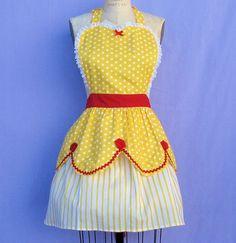 BELLE grembiule grembiule retrò womens costume intero grembiuli in abbastanza giallo e red roses