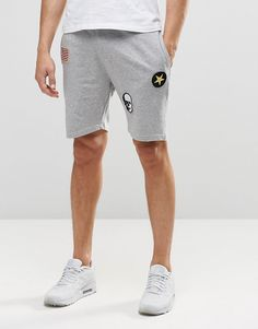 Image 1 ofOnly and Sons Jersey Shorts with Badge Details and Drawstring…
