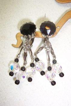 Dangle Earrings LONG Black Glass & Crystal by OodlesofBling, $12.00