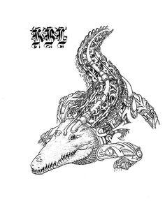 "22 tykkäystä, 1 kommenttia - Knight of the Black Line (@k_black_line) Instagramissa: ""Crocodile. Making of #coloringbook #twitchcreative #robot #animal #blackandwhite #art #drawings…"""