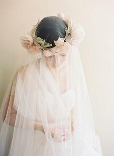 Items similar to English rose blush bridal silk flower crown - Eglantine no. 2014 on Etsy Flower Headpiece, Headpiece Wedding, Bridal Headpieces, Wedding Crowns, Wedding Veil, Bohemian Bride, Vintage Bohemian, Blush Bridal, Bridal Crown