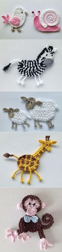"Diy Crafts - Animais em crochê ""☆ ★ ✭ Aplique de Crochê Bichos - / ☆ ★ ✭ Apply by Crochet Critters -"", ""Wonderful applikashki from les frotte Crochet Diy, Love Crochet, Crochet For Kids, Crochet Crafts, Yarn Crafts, Crochet Flowers, Crochet Projects, Crochet Ideas, Irish Crochet"
