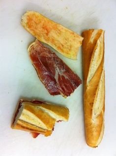 """Little Spain in #LA- Real Iberico Ham, real tomato, real olive oil, and even the bread is Imported from Spain , this is """"un bocata de Jamon Iberico"""""""