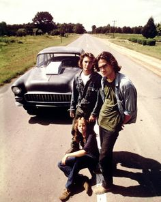 """Two Lane Blacktop"". That's Dennis Wilson of the Beach Boys family and James Taylor ! Classic car movie. Their black Chevy is the same one George Lucas used in ""American Graffitti""."