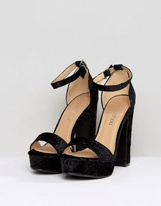Boohoo Barely There Block Heeled Platform Sandal - Black