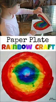 Paper Plate Rainbow Craft - You won't believe how simple this is to make. Great for St. Patrick's day or Spring!