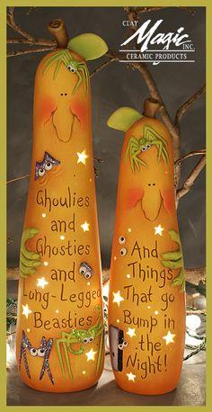 Clay Magic - Home - Halloween gourds Halloween Painting, Holidays Halloween, Halloween Crafts, Holiday Crafts, Halloween Decorations, Polymer Clay Halloween, Halloween Gourds, Decorative Gourds, Hand Painted Gourds